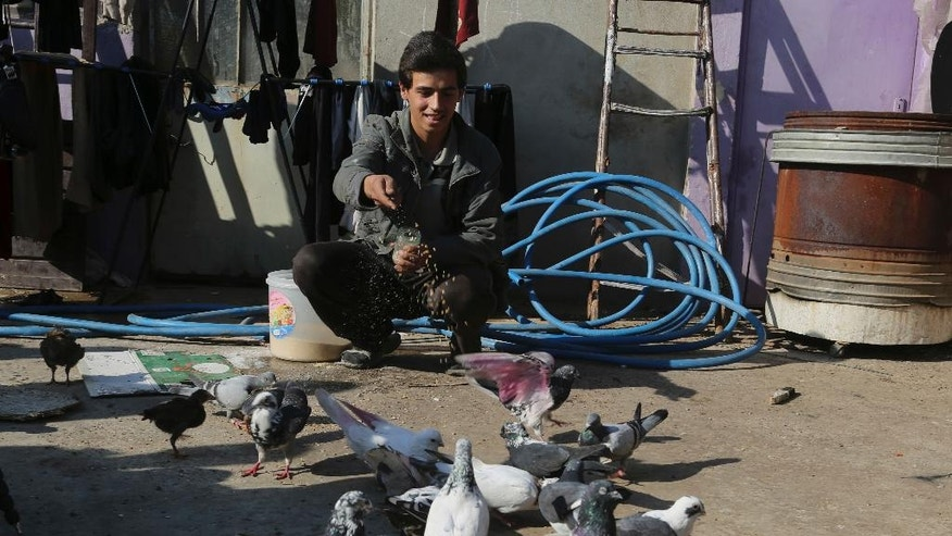 FILE -- In this Wednesday, Jan. 18, 2017 file photo, Mustafa Othman feeds his pigeons on the roof of his family's house, in a neighborhood recently liberated from Islamic State militants, in eastern Mosul, Iraq. For the first time in over two years, flocks of white and grey pigeons can be seen circling Mosul's rooftops. Among the many strict rules imposed by the Islamic State group in the northern Iraqi city was a ban on breeding or flying the birds. Many Mosul residents killed off their flocks or confined them to cages, but 17-year-old Mustafa Othman couldn't bring himself to do it. (AP Photo/Khalid Mohammed, File)