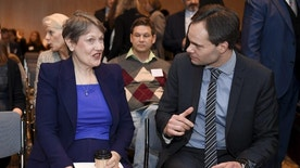 Administrator of the UNDP Helen Clark, left and Finnish Minister for Foreign Trade and Development Kai Mykk'nen talk, during  a conference in Helsinki, Monday, Jan. 23, 2017. As talks between the Syrian government and rebel factions continue in Kazakhstan, Nordic and UN aid groups are meeting in Finland to discuss the plight of civilians in the war that has killed hundreds of thousands and displaced half the country's population. (Jussi Nukari/Lehtikuva via AP)