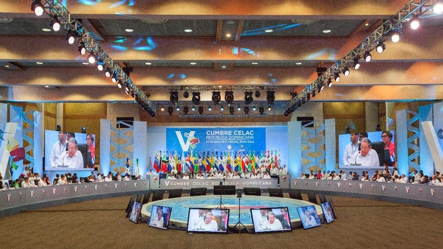 Cuban President Raul Castro speaks to the heads of state at the V Summit of the Community of Latin American and Caribbean States in Bavaro, Dominican Republic, Wednesday, Jan. 25, 2017. (AP Photo/Tatiana Fernandez)