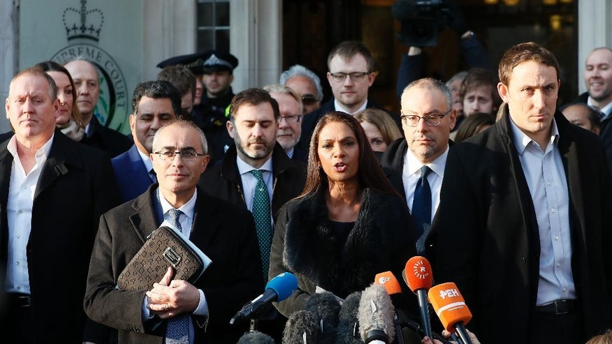 Gina Miller, the lead claimant in the legal fight to get Parliament to vote on whether the UK can start the process of leaving the EU, makes a statement outside the Supreme Court in London, Tuesday, Jan. 24, 2017. Lead plaintiff Gina Miller says British Supreme Court ruling provides the legal foundation to trigger Brexit. (AP Photo/Kirsty Wigglesworth)