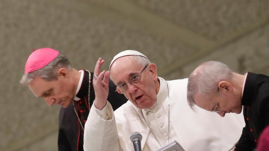 Pope Francis blesses faithful at the end of his weekly general audience in the Paul VI Hall at the Vatican, Wednesday, Jan. 25, 2017. (AP Photo/Alessandra Tarantino)