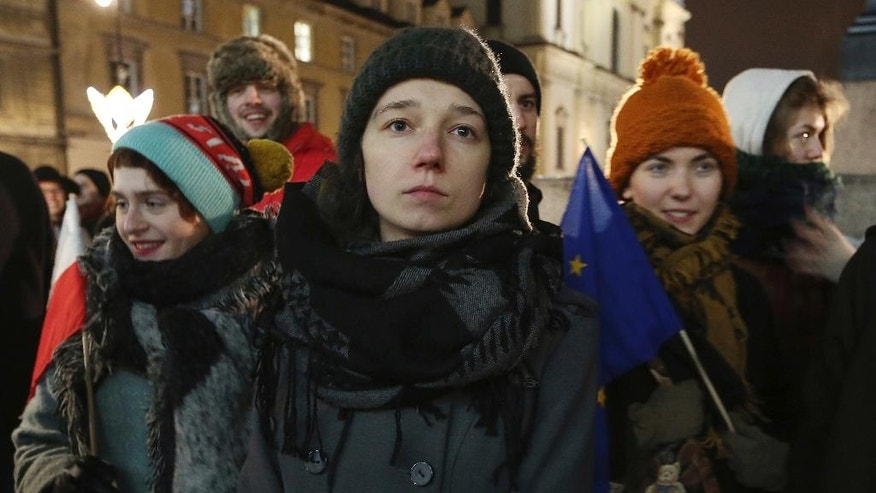 Students protest  in Warsaw, Poland, Wednesday, Jan. 25, 2017. Hundreds of students gathered Wednesday in Warsaw and other Polish cities to protest the country's populist and nationalist government, with a range of demands that includes better ties with the European Union and protecting the environment. (AP Photo/ Czarek Sokolowski)