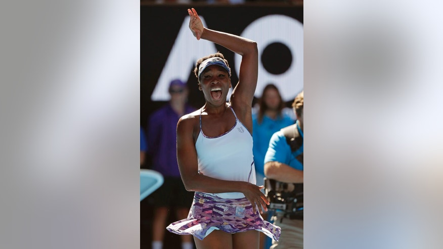 United States' Venus Williams celebrates after defeating compatriot Coco Vandeweghe during their semifinal at the Australian Open tennis championships in Melbourne, Australia, Thursday, Jan. 26, 2017. (AP Photo/Dita Alangkara)