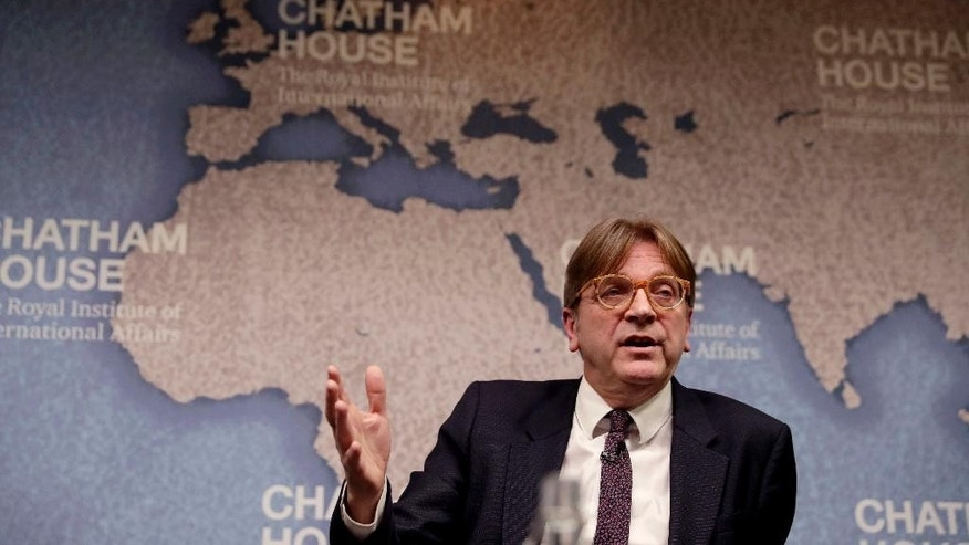 The European Parliament's lead Brexit negotiator Guy Verhofstadt, the former Prime Minister of Belgium, speaks during a seated discussion after delivering a speech to Chatham House in London, Monday, Jan. 30, 2017.  Chatham House, the Royal Institute of International Affairs, is an independent policy institute based in London. (AP Photo/Matt Dunham)