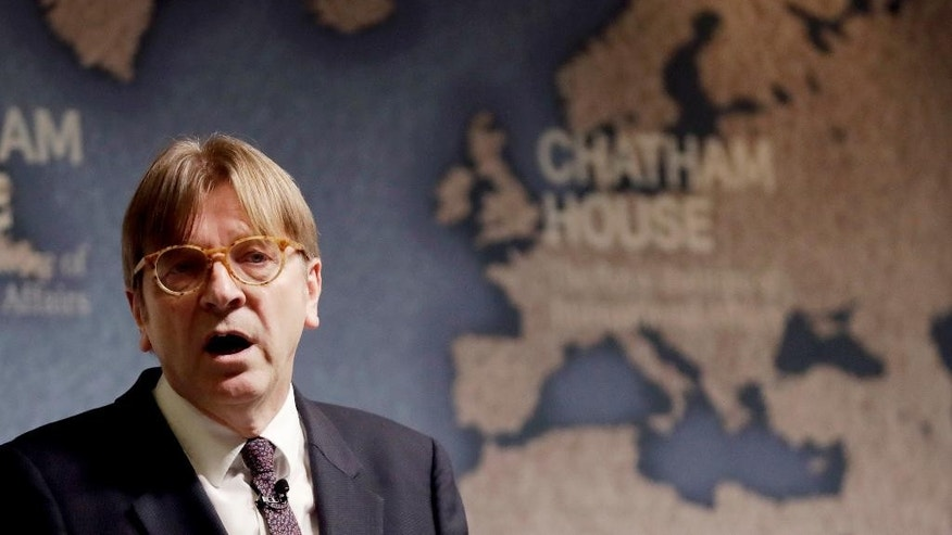 The European Parliament's lead Brexit negotiator Guy Verhofstadt, the former Prime Minister of Belgium, delivers a speech to Chatham House in London, Monday, Jan. 30, 2017. Chatham House, the Royal Institute of International Affairs, is an independent policy institute based in London. (AP Photo/Matt Dunham)