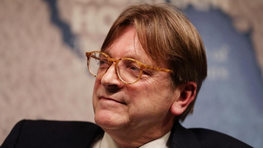 The European Parliament's lead Brexit negotiator Guy Verhofstadt, the former Prime Minister of Belgium, listens during a seated discussion after delivering a speech to Chatham House in London, Monday, Jan. 30, 2017.  Chatham House, the Royal Institute of International Affairs, is an independent policy institute based in London. (AP Photo/Matt Dunham)