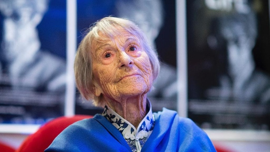 FILE - In this June 29, 2016 photo Brunhilde Pomsel, former secretary of NS propaganda minister Goebbels, attends the premier of the film 'Ein deutsches Leben' (lit. A German Life) in Munich, Germany. Pomsel has died. She was 106.. (Matthias Balk/dpa via AP)