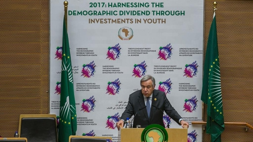 UN Secretary-General Antonio Guterres delivers a speech at the headquarters of the African Union (AU) in Addis Ababa, Ethiopia, during the 28th Ordinary Session of the Assembly of the African Union. Monday, Jan. 30, 2017.  Guterres on Monday commended African countries for opening their borders to refugees and people fleeing violence. (AP Photo/Mulugeta Ayene)