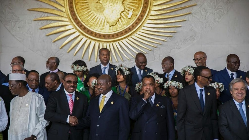 Leaders gather for a group photo of the 28th Ordinary Session of the Assembly of the African Union in Addis Ababa, Ethiopia, Monday, Jan. 30, 2017. The U.N. Secretary General Antonio Guterres, front right, on Monday commended African countries for opening their borders to refugees and people fleeing violence.(AP Photo/Mulugeta Ayene )