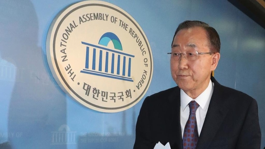 Former U.N. Secretary-General Ban Ki-moon leaves after a press conference at the National Assembly in Seoul, South Korea, Wednesday, Feb. 1, 2017. Ban said Wednesday that he won't run for South Korea's presidency, a surprise announcement that removes a well-known figure from contention and further stirs the country's already tumultuous politics. (Ahn Jung-won/Yonhap via AP)