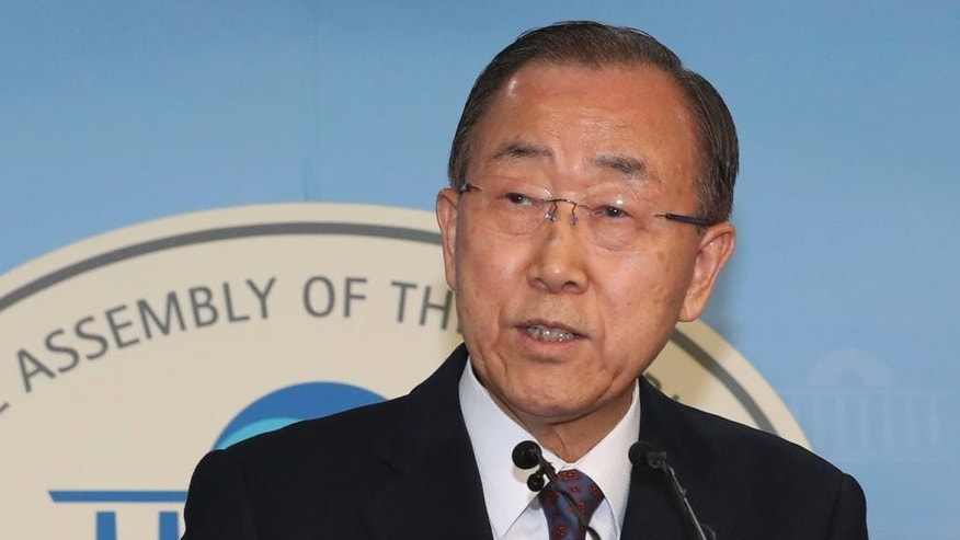 Former U.N. Secretary-General Ban Ki-moon speaks during a press conference at the National Assembly in Seoul, South Korea, Wednesday, Feb. 1, 2017. Ban said Wednesday that he won't run for South Korea's presidency, a surprise announcement that removes a well-known figure from contention and further stirs the country's already tumultuous politics. (Ahn Jung-won/Yonhap via AP)