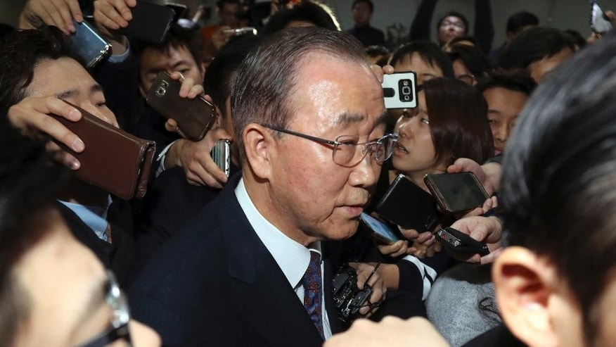 Former U.N. Secretary-General Ban Ki-moon leaves after a press conference at the National Assembly in Seoul, South Korea, Wednesday, Feb. 1, 2017. Ban said Wednesday that he won't run for South Korea's presidency, a surprise announcement that removes a well-known figure from contention and further stirs the country's already tumultuous politics. (Bae Jae-man/Yonhap via AP)