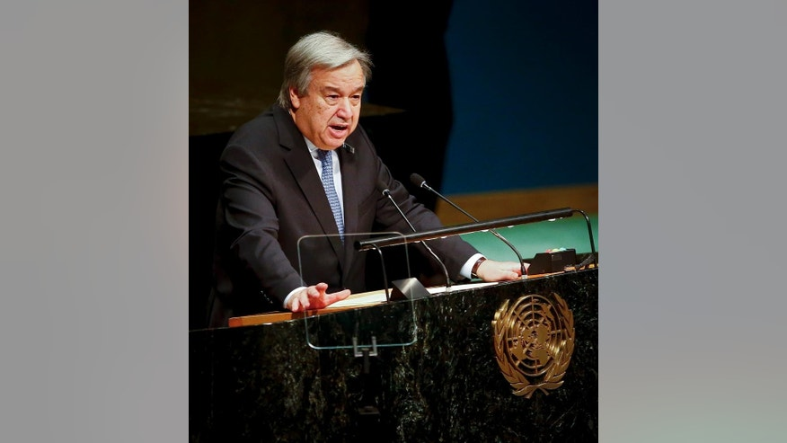 United Nations Secretary-General António Guterres delivers remarks during the United Nations Holocaust Memorial Ceremony, Friday Jan. 27, 2017 at U.N. headquarters in New York. (AP Photo/Bebeto Matthews)