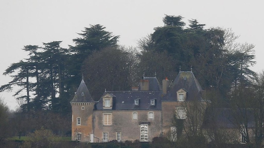 The Manoir de Beauce, or Beauce manor, the family home of conservative presidential candidate Francois Fillon is pictured near Solesmes, western France, Thursday, Feb. 2, 2017.  Fillon suffered new setbacks Thursday to his presidential candidacy, with prosecutors expanding an embezzlement probe into his wife's paid political job, to include two of their children. (AP Photo/David Vincent)