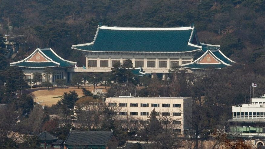 The presidential house is seen in Seoul, South Korea, Friday, Feb. 3, 2017. South Korean officials Friday turned away prosecutors trying to search the president's mountainside compound, a confrontation that highlights the tensions of an investigation into a scandal that knocked President Park Geun-hye from power. (AP Photo/Ahn Young-joon)
