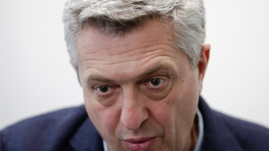 Filippo Grandi, the head of U.N. refugee agency UNHCR speaks during an interview with The Associated Press in Beirut, Lebanon, Saturday, Feb. 4, 2017. The U.N.'s top official on refugees says it's up to the U.S. to decide the legality of the ban on admitting any refugees adding that the United Nations is extremely concerned by its implications.  (AP Photo/Hassan Ammar)
