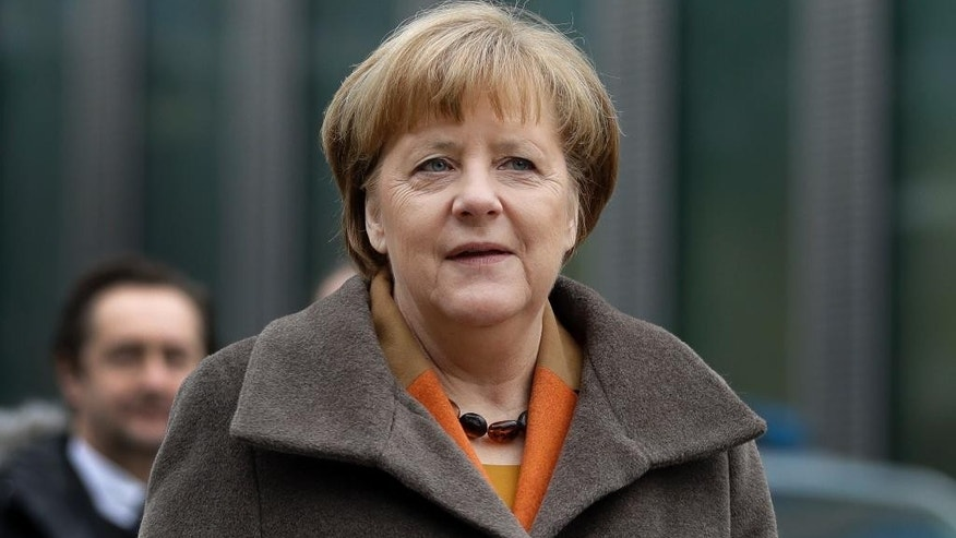 German chancellor and head of the German Christian Democrats, Angela Merkel, arrives for a party meeting in Munich, Germany, Monday, Feb. 6, 2017. Merkel is meeting her Bavarian conservative allies in a show of unity following a long-running argument over migrant policy, setting the scene for a joint campaign for German elections in September. (AP Photo/Matthias Schrader)
