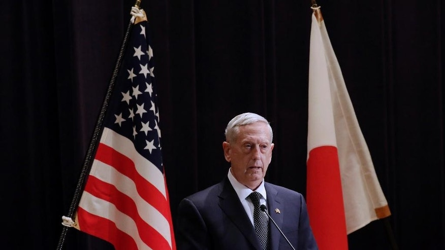 U.S. Defense Secretary Jim Mattis answers questions during the joint press conference with Japanese Defense Minister Tomomi Inada at the Defense Ministry in Tokyo, Saturday, Feb. 4, 2017. During the news conference, Mattis says the U.S. cannot afford to ignore destabilizing moves by Iran, but has no plans to respond by increasing American military forces in the Middle East. (AP Photo/Eugene Hoshiko)