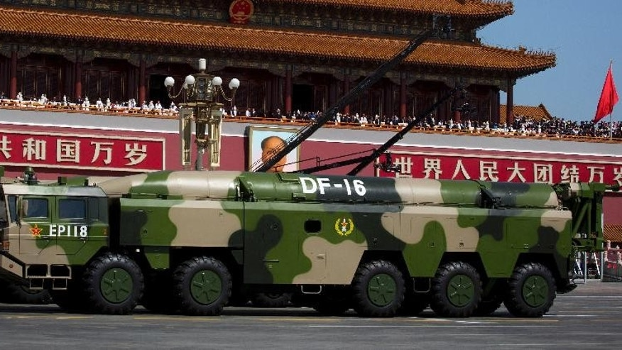 DF-16 short-range ballistic missiles in a 2015 parade.
