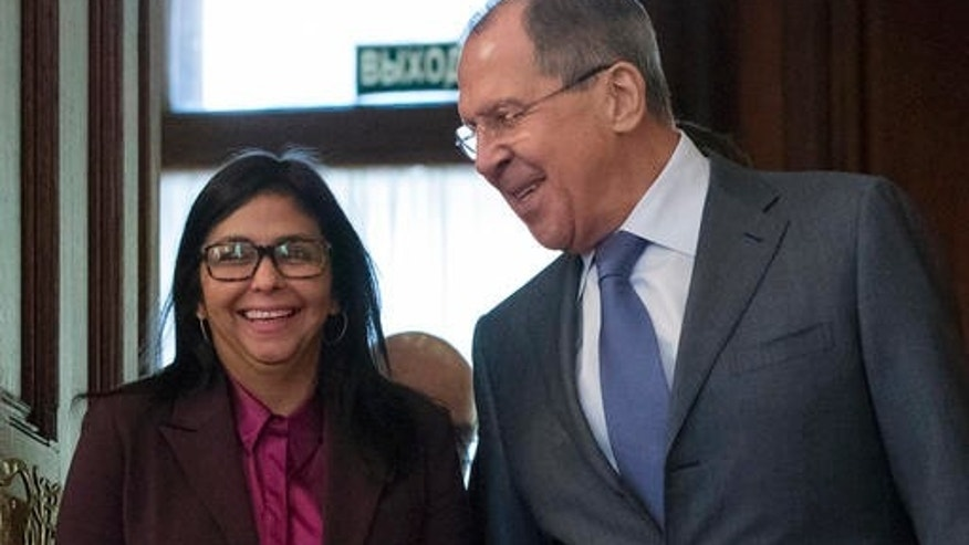 Russian Foreign Minister Sergey Lavrov and his counterpart from Venezuela Delcy Rodriguez in Moscow, Russia, Monday, Feb. 6, 2017.