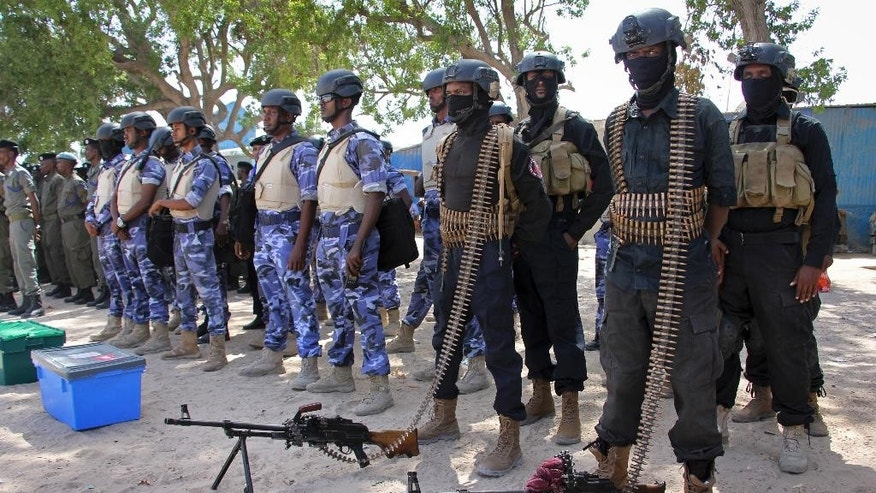 Somali soldiers prepare to secure the capital on the eve of presidential elections, at a police academy in Mogadishu, Somalia Tuesday, Feb. 7, 2017. Graft - vote-buying, fraud, intimidation - is the top concern in a nation that Transparency International now rates as the most corrupt in the world and Mogadishu is in lockdown because of the threat of violence by homegrown Islamic extremist group al-Shabab. (AP Photo/Farah Abdi Warsameh)