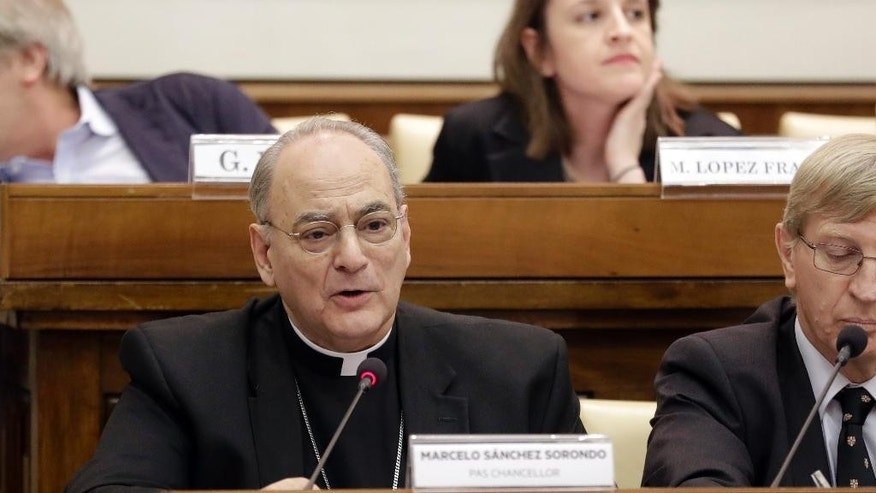 Msgr. Marcelo Sanchez Sorondo, head of the Pontificial Academy of Sciences, delivers his message at a conference on 'Organ Traffiking and Transplant Tourism', held at the Vatican, Tuesday, Feb. 7, 2017.  (AP Photo/Andrew Medichini)