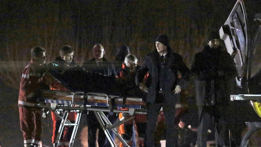 Polish Prime Minister Beata Szydlo is transported to a rescue helicopter after a car accident in Oswiecim, Poland, Friday, Feb. 10, 2017. Szydlo suffered minor injuries Friday after a small Fiat hit her car, officials and Polish news reports said. Her spokesman said she was being examined in a hospital but wasn't badly hurt. (AP Photo)