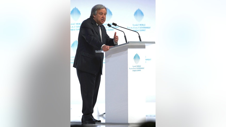 "The United Nations Secretary-General Antonio Guterres speaks during the 2nd day of the World Government Summit in Dubai, United Arab Emirates, Monday, Feb. 13, 2017. Guterres said Monday that he ""deeply regrets"" the United States' decision to block a former Palestinian prime minister from leading the world body's political mission in Libya. Antonio Guterres says that Salam Fayyad was ""the right person for the right job at the right moment."" (AP Photo)"