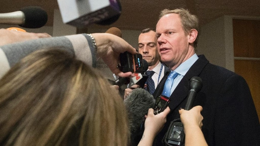 United Kingdom's Ambassador to the United Nations Matthew Rycroft speaks to reporters as he arrives for a Security Council consultation on North Korea, Monday, Feb. 13, 2017, at U.N. headquarters. (AP Photo/Mary Altaffer)