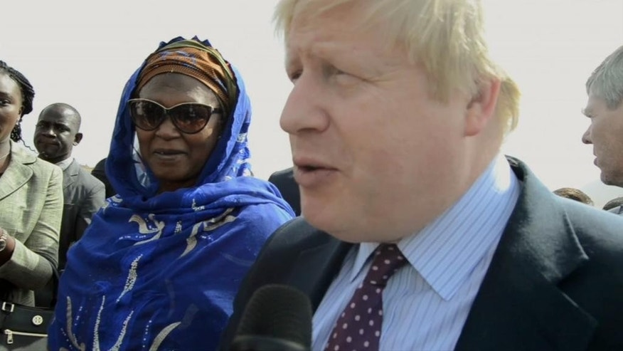In this image from video British Foreign Secretary Boris Johnson is welcomed on arrival in the Gambian capital Banjul Tuesday Feb. 13 2017. Johnson is scheduled to meet new president Adama Barrow during his regional visit