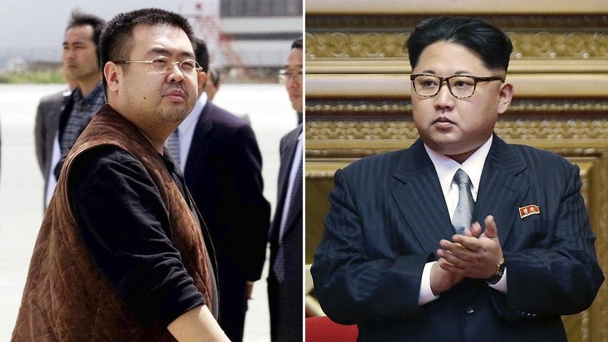 FILE - This combination of file photos shows Kim Jong Nam, left, exiled half brother of North Korea's leader Kim Jong Un, in Narita, Japan, on May 4, 2001, and North Korean leader Kim Jong Un on May 9, 2016, in Pyongyang, North Korea. Kim Jong Nam, 46, was targeted Monday, Feb. 13, 2017, in the Kuala Lumpur International Airport, Malaysia, and later died on the way to the hospital according to a Malaysian government official. (AP Photos/Shizuo Kambayashi, Wong Maye-E, File)