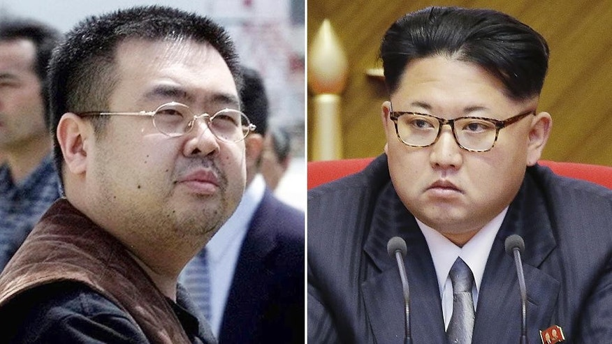 FILE - This combination of file photos shows Kim Jong Nam, left, exiled half-brother of North Korea's leader Kim Jong Un, in Narita, Japan, on May 4, 2001, and North Korean leader Kim Jong Un on May 9, 2016, in Pyongyang, North Korea. Kim Jong Nam, 46, was targeted Monday, Feb. 13, 2017, in a shopping concourse at Kuala Lumpur International Airport, Malaysia, and died on the way to the hospital, according to a Malaysian government official. (AP Photos/Shizuo Kambayashi, Wong Maye-E, File)