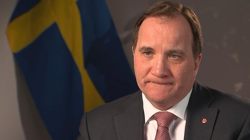 Swedish Prime Minister Stefan Lofven warns of 'very tough' negotiations during an interview with The Associated Press, in Stockholm, Thursday, Feb. 16, 2017. Sweden's prime minister said a deal between Britain and the European Union within the envisioned two-year time frame is unlikely _ and the U.K. will have to pay a big bill before it is allowed out the door. (AP Photo/David Keyton)