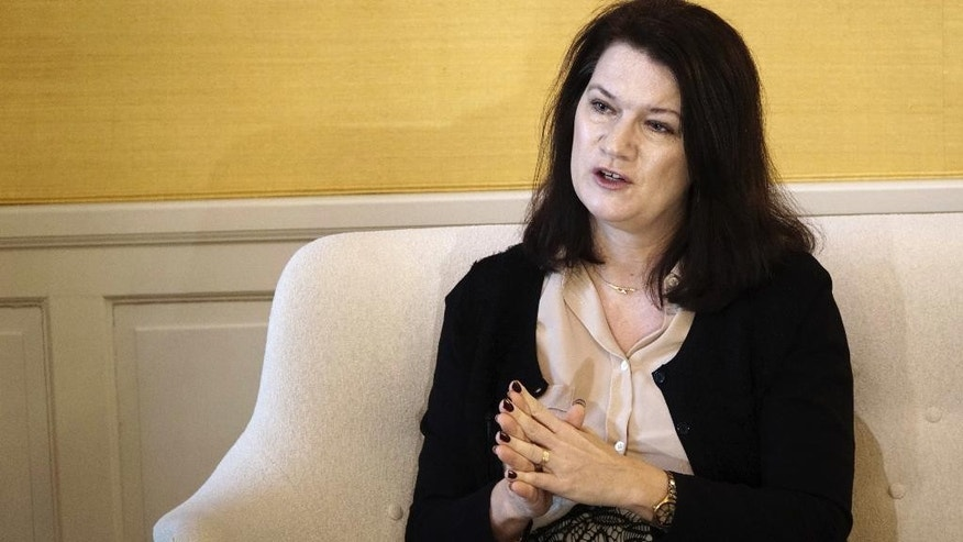 Sweden's minister for EU affairs and trade, Ann Linde sits for an interview with The Associated Press, in Stockholm, Thursday, Feb. 16, 2017. Linde warned that securing a new partnership between Britain and its former EU partners will take years. British Prime Minister Theresa May plans to invoke Article 50 of the key EU treaty, starting the two-year exit process, by March 31. (AP Photo/David Keyton)