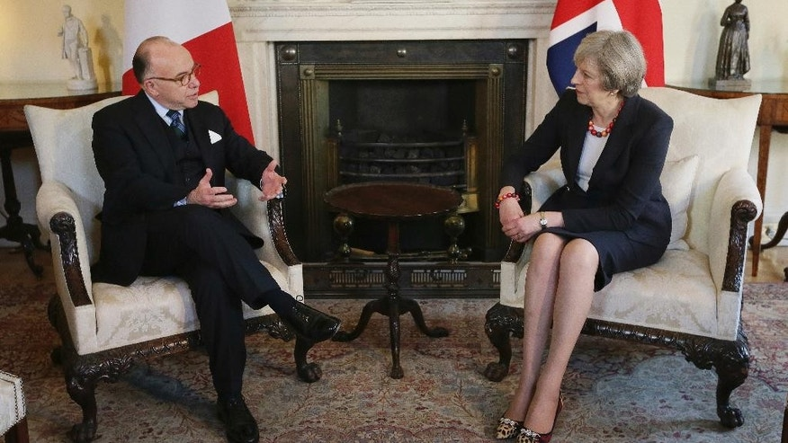 Britain's Prime Minister Theresa May talks with French Prime Minister Bernard Cazeneuve at 10 Downing Street in London, Friday Feb. 17, 2017.  Cazeneuve is in London for bilateral discussions.(AP Photo/Tim Ireland, Pool)