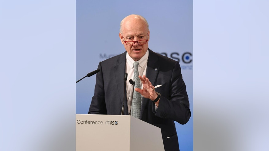 Staffan de Mistura, UN Special Envoy of the Secretary General for Syria, speaks on the last day of the Munich Security Conference in Munich, Germany, Sunday Feb.19, 2017. (Tobias Hase/dpa via AP)