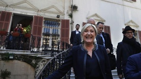 "French far right leader and presidential candidate Marine Le Pen smiles as she leaves the foreign ministry building after she met with Lebanese foreign minister Gibran Bassil, in Beirut, Lebanon, Monday, Feb. 20, 2017. Le Pen has met with the president of Lebanon, saying their two countries should be ""pillars"" in organizing the fight against Islamic fundamentalism. Le Pen's National Front party claims Muslim immigration to France boosts terror risks, costs jobs and drains the nation's treasury. (AP Photo/Hussein Malla)"