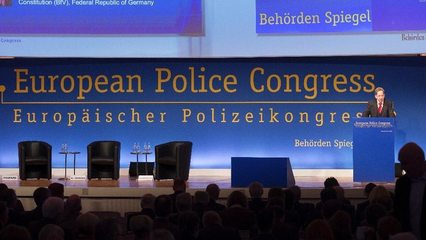 The president of the Office for the Protection of the Constitution, Hans-Georg Maassen, speaks during the 20th European Police Congress in Berlin, Germany, Thursday, Feb. 22,  2017. (Monika Skolimowska/dpa via AP)
