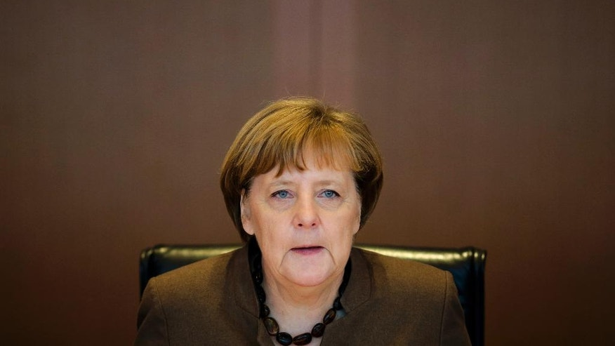 German Chancellor Angela Merkel attends the weekly cabinet meeting of the German government at the chancellery in Berlin, Wednesday, Feb. 22, 2017. (AP Photo/Markus Schreiber)