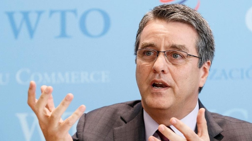 Brazilian Roberto Azevedo, Director General of the World Trade Organization, WTO, informs the media about the Trade Facilitation Agreement, during a press conference at the headquarters of the World Trade Organization, WTO in Geneva, Switzerland, Wednesday, Feb. 22, 2017. (Salvatore Di Nolfi/Keystone via AP)
