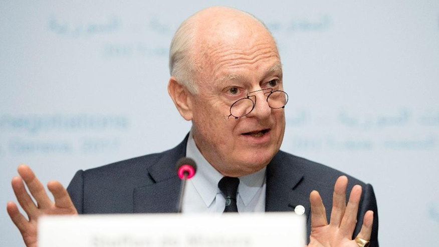 UN Special Envoy of the Secretary-General for Syria Staffan de Mistura informs the media one day before the resumption of the negotiation between the Syrian government and the opposition, at the European headquarters of the United Nations in Geneva, Switzerland, on Wednesday, Feb. 22, 2017. (Martial Trezzini/Keystone via AP)