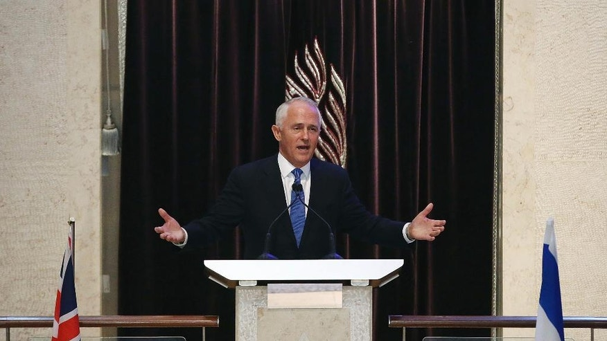 "Australian Prime Minister Malcolm Turnbull speaks at the Central Synagogue in Sydney where Israeli Prime Minister Benjamin Netanyahu is in attendance, Wednesday, Feb. 22, 2017. Netanyahu on Wednesday praised Australia for being ""courageously willing to puncture U.N. hypocrisy"" on Anti-Israel resolutions. Turnbull marked the first visit to Australia by a serving Israeli leader by writing an opinion piece in Wednesday's The Australian newspaper. (Mark Metcalfe/Pool via AP)"