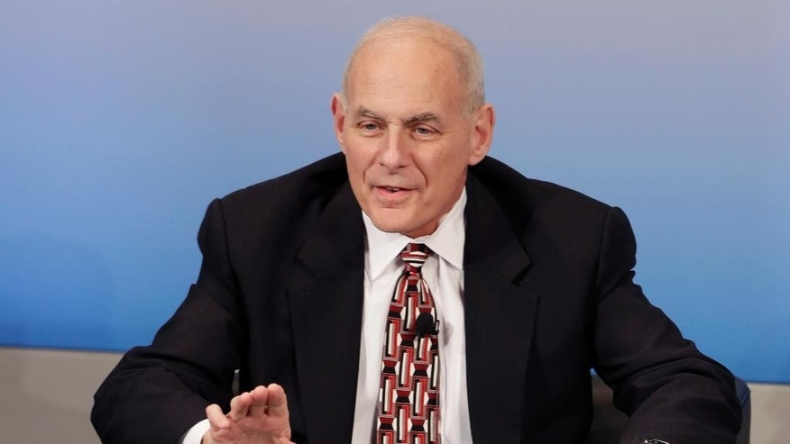 FILE - In this Feb. 18, 2017 file photo, Homeland Security Secretary John Kelly speaks in Munich, Germany. President Donald Trump is sending Secretary of State Rex Tillerson and Kelly to Mexico on a fence-mending mission made all the more challenging by the actual fence he wants to build on the southern border. (AP Photo/Matthias Schrader)