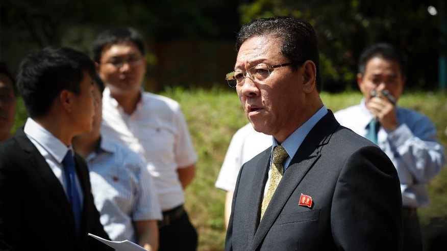 FILE - In this Monday, Feb. 20, 2017, file photo, North Korea's Ambassador to Malaysia Kang Chol speaks to the media outside the North Korean Embassy in Kuala Lumpur, Malaysia. Faced with the killing of its leader's half brother in what appears to have all the trappings of a politically motivated hit, North Korea is turning up the volume on a familiar defense: Flatly deny the allegations, viciously attack the accusers. (AP Photo/Vincent Thian, File)