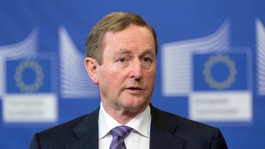 Irish Prime Minister Enda Kenny addresses a media conference at EU headquarters in Brussels on Thursday, Feb. 23, 2017. (AP Photo)
