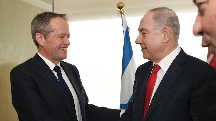 Israel's Prime Minister Benjamin Netanyahu, right, meets the Federal opposition leader Bill Shorten in Sydney, Friday, Feb. 24, 2017. Prime Minister Netanyahu is on a four-day visit to Australia, the first official visit by an Israeli Prime Minister. (William West/Pool Photo via AP)
