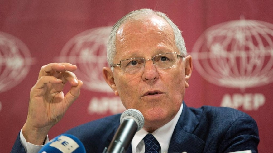 "FILE - In this July 26, 2016 file photo, Peru's President-elect Pedro Pablo Kuczynski gives a press conference in Lima, Peru. A U.S.-educated former Wall Street banker, the 78-year-old Kuczynski has emerged as an unlikely leader in Latin America, taking a strong stand against President Donald Trump's ""America First"" agenda while many in the region remain silent. Kuczynski will be the first Latin American leader to visit Trump at the White House on Friday, Feb. 24, 2017. (AP Photo/Martin Mejia, File)"