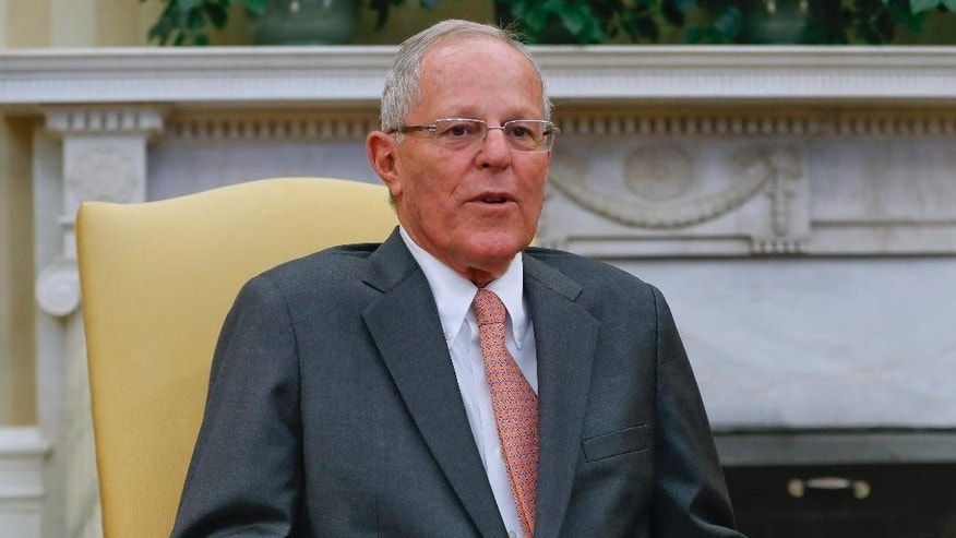 Peruvian President Pedro Pablo Kuczynski speaks during his meeting with President Donald Trump in the Oval Office of the White House in Washington, Friday, Feb. 24, 2017. (AP Photo/Pablo Martinez Monsivais)