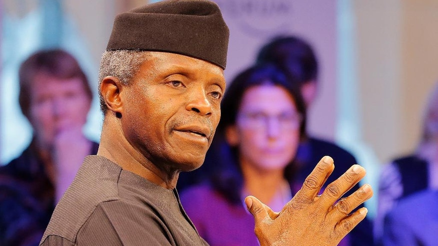 FILE- In this Tuesday, Jan.17, 2017 file photo, Nigeria's Vice President Yemi Osinbajo speaks at the World Economic Forum in Davos, Switzerland. When Nigerian President Muhammadu Buhari left for London on Jan. 19 on a month-long medical leave he handed power to Vice President Yemi Osinbajo, a 59-year-old lawyer and pastor who has been empowered to attack the country's problems with an energy that has surprised observers and led some to suggest he should stay in charge for good. (AP Photo/Michel Euler, File)