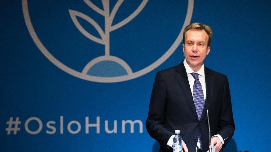 Norway's Minister of Foreign Affairs, Borge Brende, speaks at the Humanitarian Conference for Nigeria and Lake Chad region, in Oslo, Friday, Feb. 24, 2017. Norwegian Foreign Minister Borge Brende says his country is giving 1.6 billion kroner ($192 million) over a three-year period to prevent a famine in the African countries around the Lake Chad Basin, while Germany on Friday added 120 million euros ($127 million). (Haakon Mosvold Larsen/NTB Scanpix via AP)